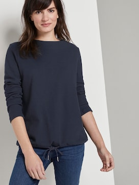 Sweatshirt met textuur verstelbare tailleband - 5 - TOM TAILOR