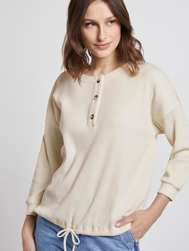 Ribbed long-sleeved top with a button tab - 5 - TOM TAILOR Denim