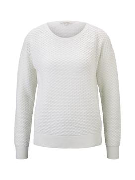 DENIM Damen Pullover mit Waffelstruktur, weiß