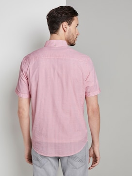 Textured short-sleeved shirt with stripes - 2 - TOM TAILOR