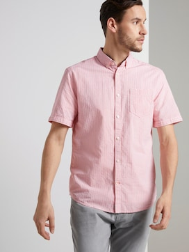 Textured short-sleeved shirt with stripes - 5 - TOM TAILOR