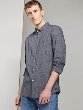 Structured Linen-blend shirt - 5 - TOM TAILOR Denim