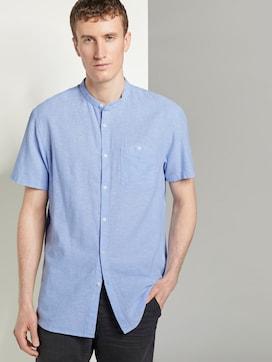 Linen-blend shirt with a Mao collar - 5 - TOM TAILOR Denim