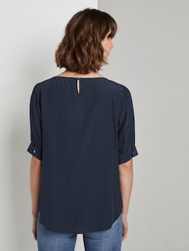 Blouse with gathered sleeves - 2 - TOM TAILOR