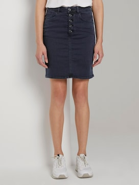Denim skirt with a button tab - 1 - Tom Tailor E-Shop Kollektion