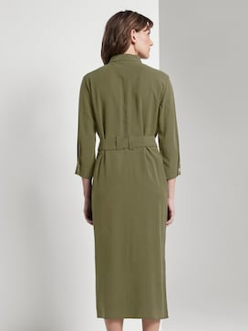 Blouse dress with a tie belt in midi length - 2 - TOM TAILOR