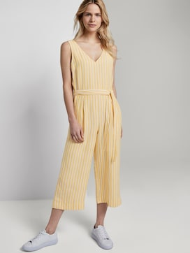 Sleeveless jumpsuit with stripes and a belt - 5 - TOM TAILOR