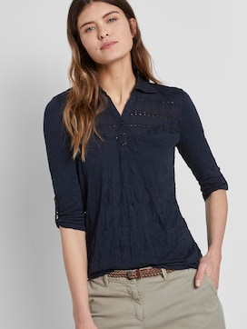 Polo shirt in a crincle look with a lace insert - 5 - TOM TAILOR
