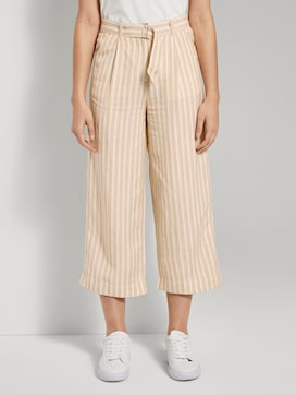 Striped linen-blend culotte trousers - 1 - TOM TAILOR