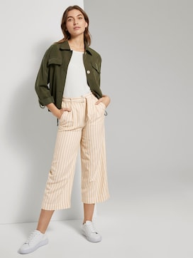 Striped linen-blend culotte trousers - 3 - TOM TAILOR