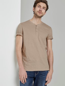 Basic Henley T-shirt in a melange look - 5 - TOM TAILOR