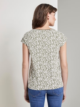 Printed T-shirt with a Henley neckline - 2 - TOM TAILOR