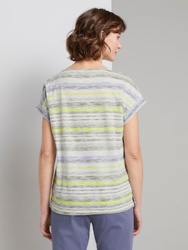 T-shirt with a light striped pattern - 2 - TOM TAILOR