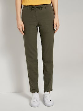 Slim chino trousers with an elastic waistband - 1 - TOM TAILOR
