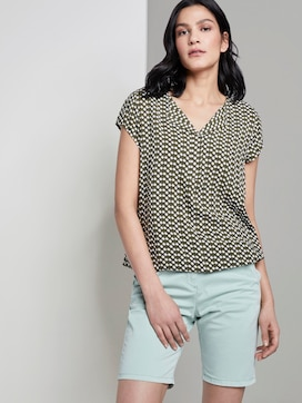 Patterned short-sleeved blouse with a reversed V-neckline - 5 - TOM TAILOR