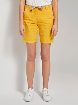 Relaxed chino bermuda shorts with a fabric belt - 1 - TOM TAILOR
