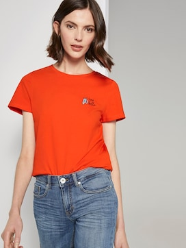 Basic T-shirt with a small print - 5 - TOM TAILOR