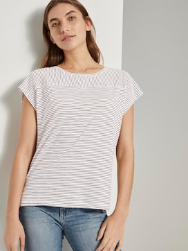 Gestreept T-shirt met korte splitten - 5 - TOM TAILOR