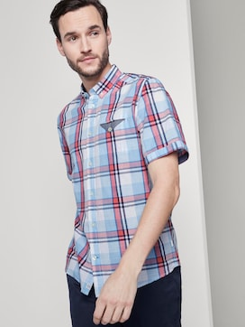 Checked short-sleeved shirt with a chest pocket - 5 - TOM TAILOR