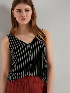 Striped top with a button tab - 5 - TOM TAILOR Denim