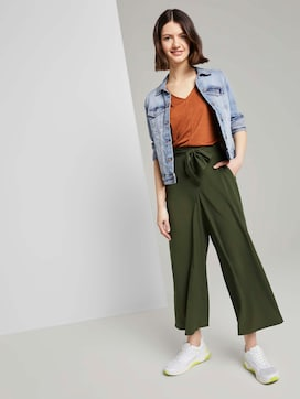 Culotte broek met strikriem - 3 - TOM TAILOR Denim