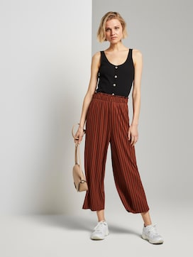Striped culotte trousers with an elastic waistband - 3 - TOM TAILOR Denim