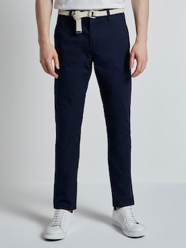 Slim Chino trousers with a belt and a fine pattern - 1 - TOM TAILOR Denim