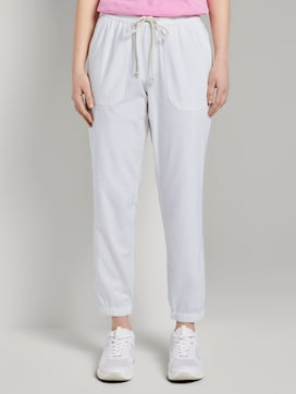 Relaxed linen-blend jogging bottoms - 1 - TOM TAILOR Denim