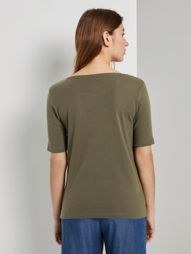 Basic T-shirt with a wide neckline - 2 - TOM TAILOR