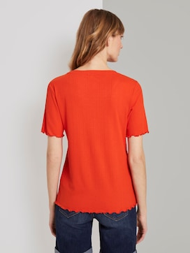Ribbed T-shirt with corrugated edges - 2 - TOM TAILOR