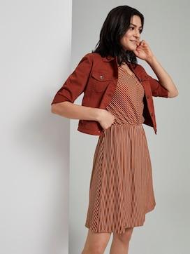 Gestreepte jersey jurk met wijde schouder - 5 - TOM TAILOR