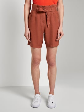 Linen-blend paperbag shorts - 1 - TOM TAILOR
