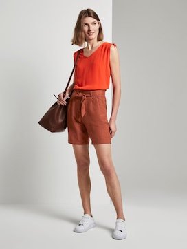 Linen-blend paperbag shorts - 3 - TOM TAILOR