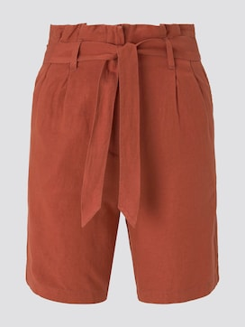 Paperbag-Shorts aus Leinengemisch - 7 - TOM TAILOR