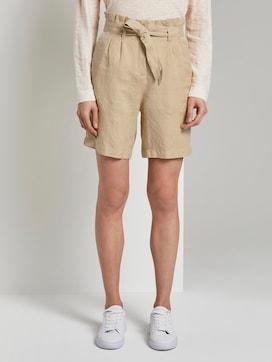 Paperbag-Shorts aus Leinengemisch - 1 - TOM TAILOR