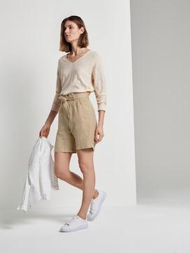 Paperbag-Shorts aus Leinengemisch - 3 - TOM TAILOR