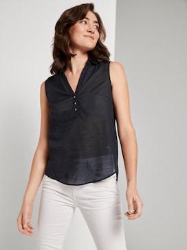 Mouwloze Henley blouse met zijsplitten - 5 - TOM TAILOR