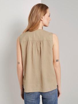 Ärmellose Hemdbluse aus Leinengemisch - 2 - TOM TAILOR