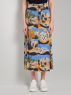 Maxi skirt with a button tab - 1 - TOM TAILOR Denim