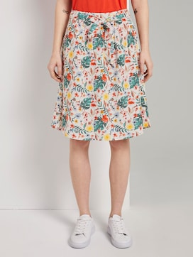 Skirt with a tropical print and tie belt - 1 - TOM TAILOR
