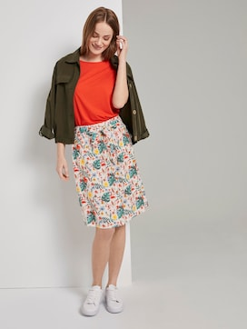 Skirt with a tropical print and tie belt - 3 - TOM TAILOR