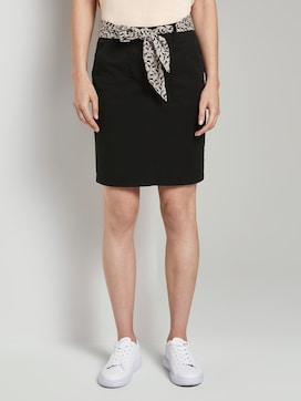 Skirt with a patterned tie belt - 1 - TOM TAILOR
