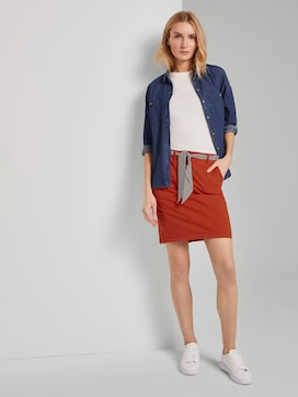 Skirt with a patterned tie belt - 3 - TOM TAILOR