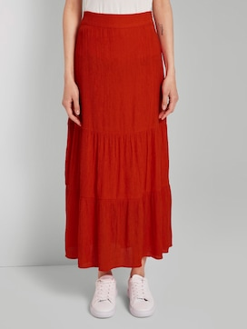 High-waisted maxi skirt with flounce - 1 - TOM TAILOR