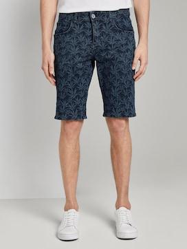 Josh Regular Jeans-Short mit tropischem Print - 1 - TOM TAILOR