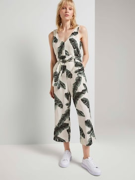 Sleeveless jumpsuit made of linen with a print - 5 - Mine to five