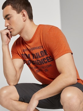 Mottled T-shirt with a print - 5 - TOM TAILOR