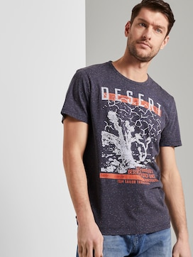 Meliertes T-Shirt mit Print - 5 - TOM TAILOR