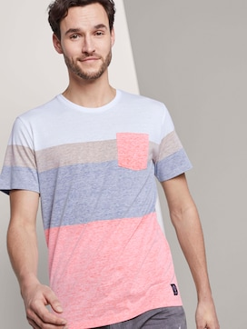 T-Shirt mit blassem Streifenprint - 5 - TOM TAILOR