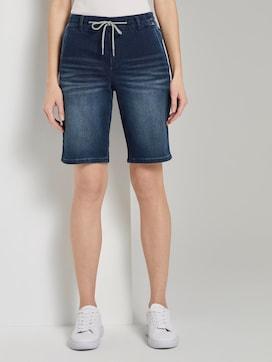 Loose fit Bermuda denim shorts met elastische tailleband - 1 - TOM TAILOR